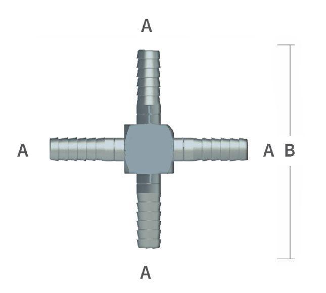 516 barb hose cross