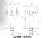 """Tapzuil """"Juliette T"""" 5/8"""" >3< (Messing)(GEEN LED)"""