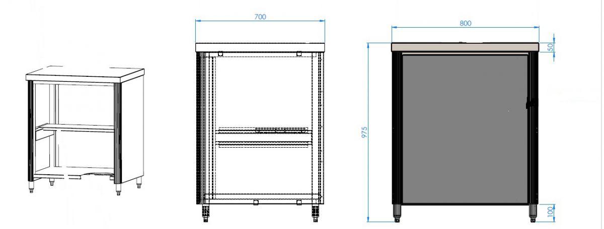 meuble inox standard 700x800x975