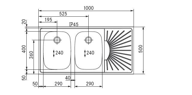 spoel lekblad 1000x500 2 spoelbak links