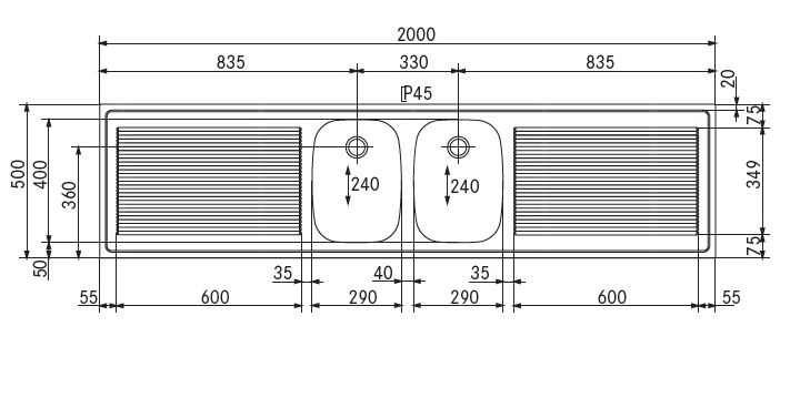 spoel lekblad 2000x500x45 2 spoelbak midden opstaande rand achterzijde