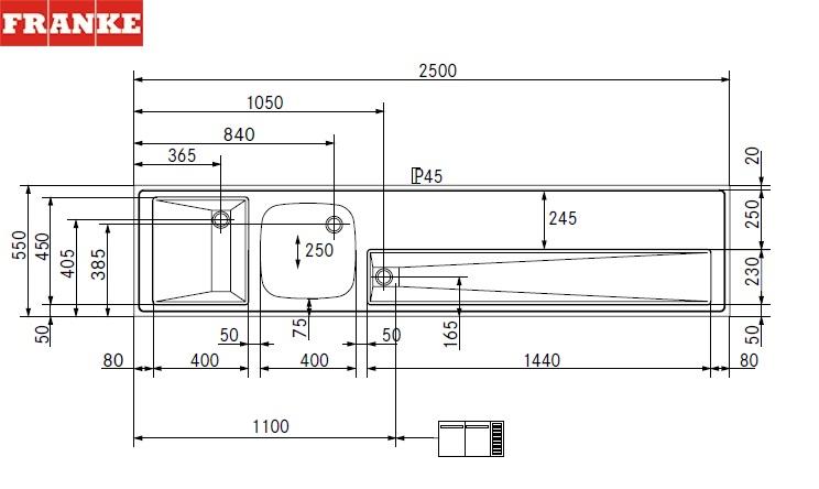 spoel tap lekblad spoelbak 400x400 links 2500x550x45 rooster rond