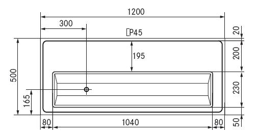 tapblad 1200x500 afvoer links glazen sproeier voorbereid