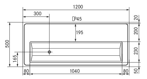 tapblad 1200x500 afvoer links met glazen sproeier