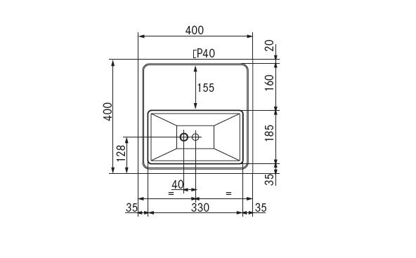 tapblad 400x400 glazen sproeier voorbereid geen afvoerset