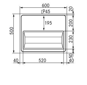 tapblad 600x500 afvoer midden