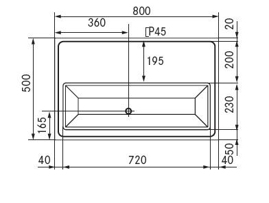 tapblad 800x500 afvoer midden met glazen sproeier