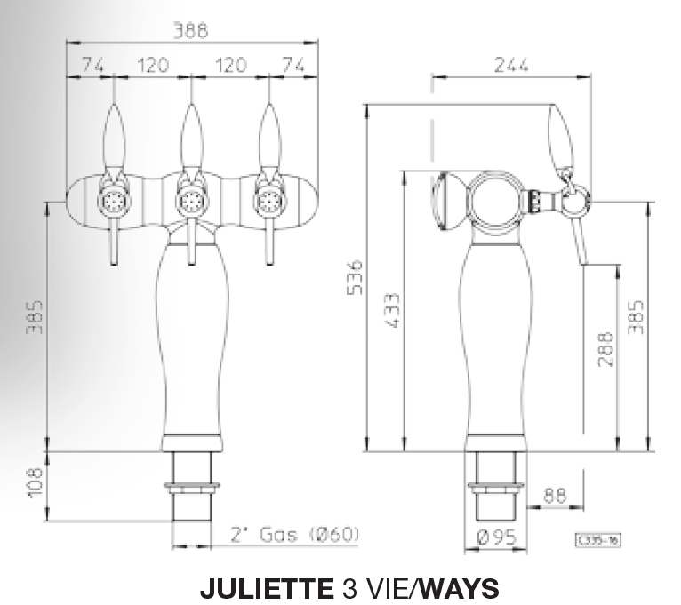 tapzuil juliette t 58 3 chroomgeen led