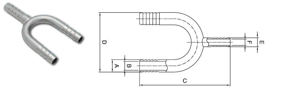 u bend manifold single barb 12